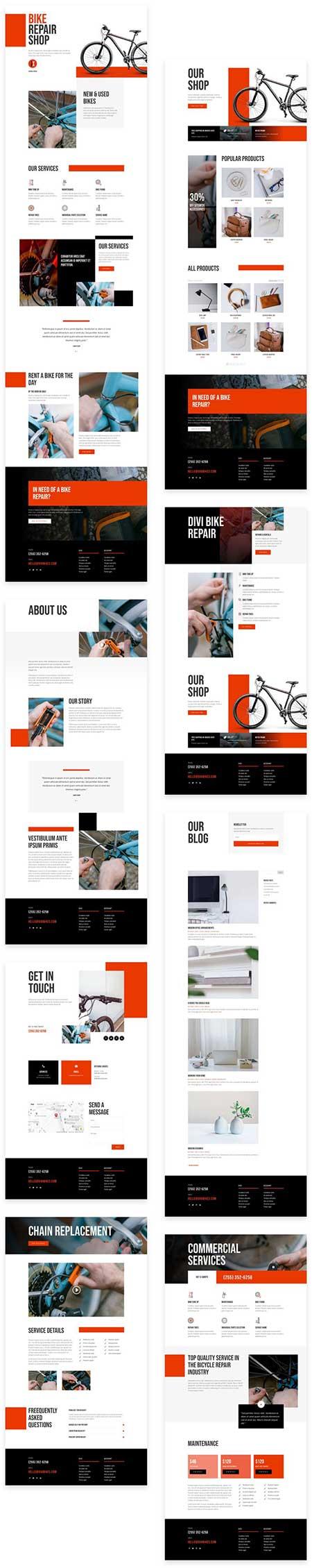 kerékpár szerviz divi Wordpress weboldal sablon