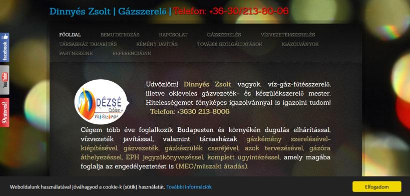 Gázszerelés honlap kép