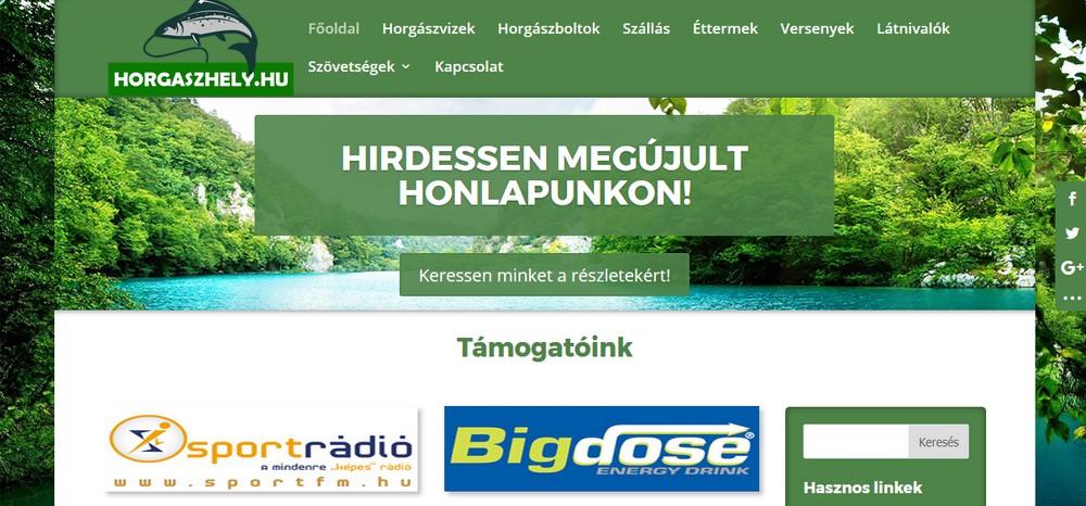 horgaszhely.hu honlap főoldala